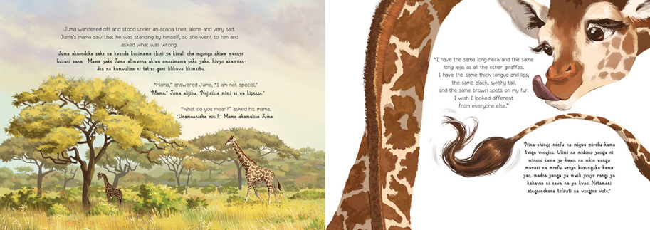 Images from Wild Nature Institute's Juma the Giraffe children's book
