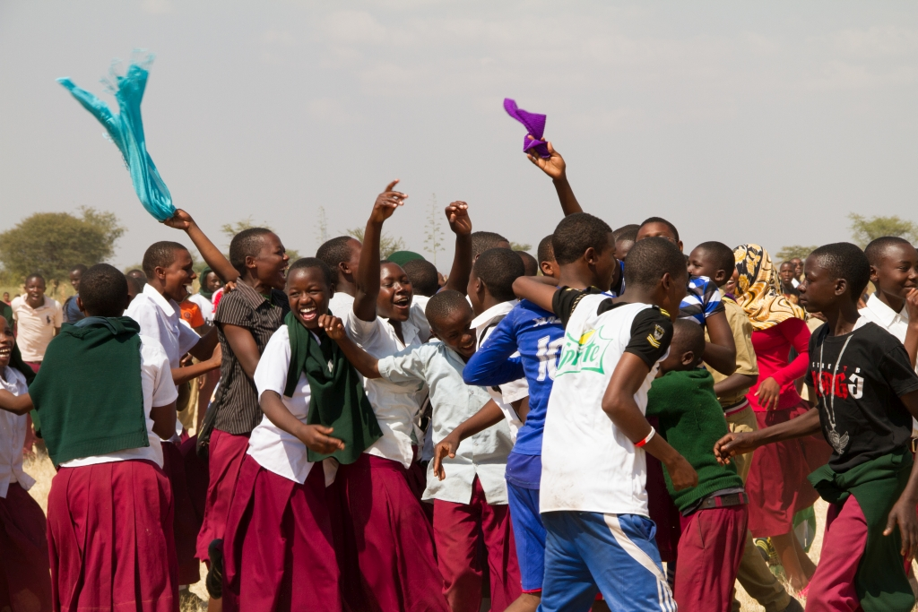 Picture of students at Nkaiti Secondary School celebrating Giraffe Day 2016, Wild Nature Institute