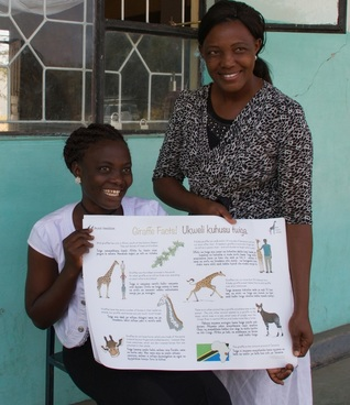 Picture of Wild Nature Institute's Giraffe Facts Poster on Giraffe Day 2016, Wild Nature Institute