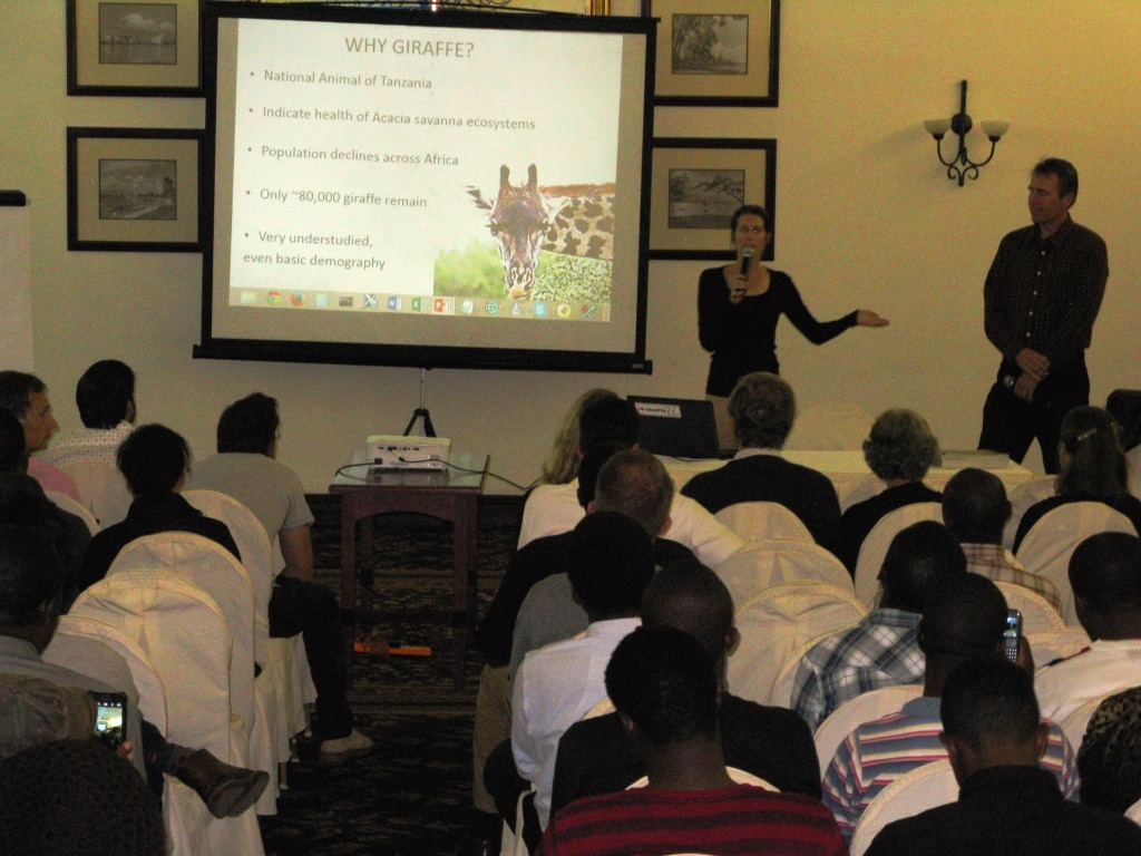 Monica Bond and Derek Lee spoke about giraffe research and conservation to Safari guides, Wild Nature Institute